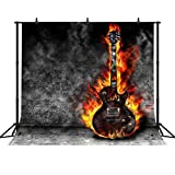 FHZON 10x10ft Burning Guitar Photography Backdrops Dark Grey Wall Background Wallpaper Party Photo Booth Props LSFH615