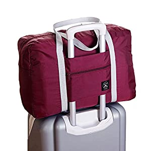 Foldable Travel Bag Luggage Storage for Sports Gym Water Resistant Nylon Canvas Duffel for Men, Women 32 Liter (Red)