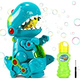 RenFox Bubble Blower Toys for Children Kids, Dinosaur Bubble Machine with Music & Light Walking & Still, Automatic Bubble Maker with Liquid Solution,Gifts for Toddlers Parties Outdoor Indoor