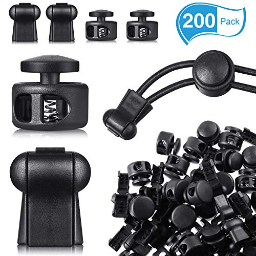 100 Pieces Spring Cord Locks Double Hole Toggle Stopper Cord End Fastener with 100 Pieces Zip Clip Buckle Zipper Clip Pull Cord Stopper Cord End Clip for Bags, Jackets, Luggage and More