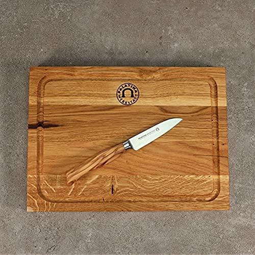 Palatina Werkstatt Juego de cuchillos para verduras con mango de madera de olivo, hoja de acero inoxidable de 9 cm y tabla de roble de 30 x 22 cm.