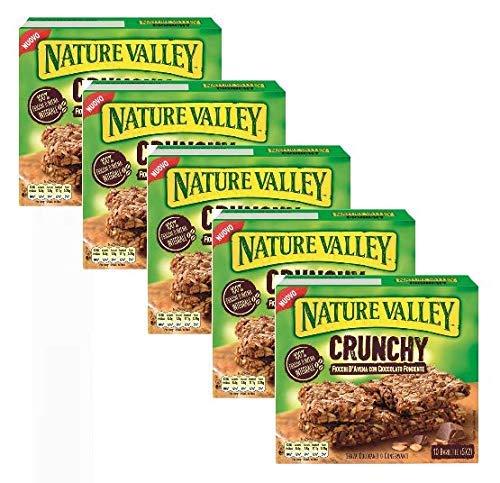 Nature Valley Barrette Fiocchi d'Avena Integrale e Cioccolato Fondente Senza Coloranti e Conservanti e Senza Lattosio Adatte ai Vegetariani - 5 x 210 Gram (5 x 10 barrette)