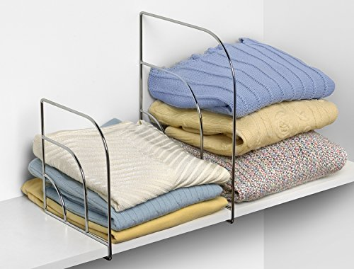 Spectrum Diversified Small Set of 2 Linen Closet & Wardrobe, Pair of Shelf Dividers, Closet Organizers & Storage Straightener, Chrome