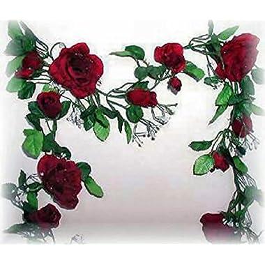Burgundy Wine Rose Garland Silk Wedding Flowers Arch Gazebo Decorations Vines
