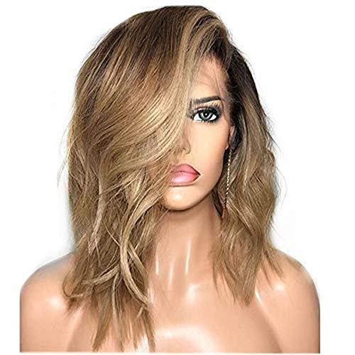 Ylf367z bouclés perruques Longs cheveux raides perruque postiches Fashian naturel perruque blanche longue diagonale Bangs Micro Volume Cheveux longs cheveux bouclés utilisation de tous les jours (coul