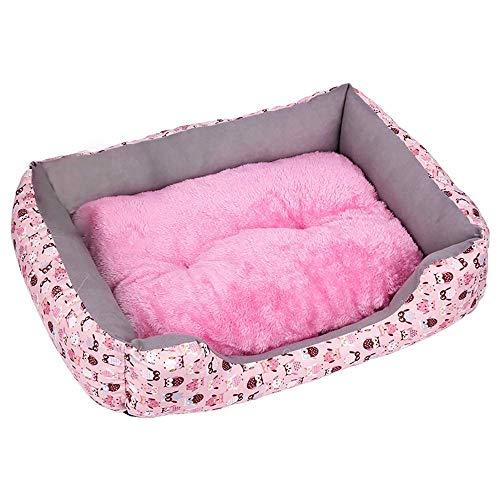 Maran Weich Haustier Hundebett Warm Hundekissen Abwischbar Schlafmatte Plush Hundesofa mit Süße Punkte Tupfen Hundematte für Katzen und kleine bis mittelgroße Hunde-Rosa-57 * 45 * 13 cm