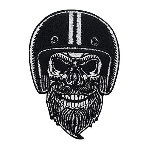 Bärtiger Biker Totenkopf Patch zum Aufbügeln | Aufnäher Lederwesten geeignet, Totenschädel Patches, Biker Schädel Rückenaufnäher, Motorrad Kutte Rückenpatch