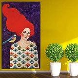 KWzEQ Cartel Retro Chica de Pelo Rojo Lienzo impresión Sala de Estar decoración del hogar Pintura al óleo Arte Moderno,Pintura sin Marco,50x90cm