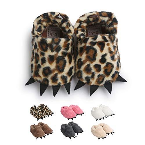 Zapatos de Garra Unisex, Lindo Dibujos Animados Invierno Animal Calentar Casa Antideslizante Suela Zapatillas Regalo para Bebés de 0 a 18 Meses (12-18 Meses, Leopardo)