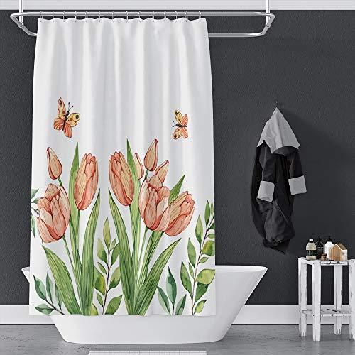OERJU Duschvorhang mit Frühlingsmotiv, Pfirsichblüten & grünen Blättern, schöner Schmetterling, weißer Badvorhang, wasserdichter Polyester-Stoff, Badezimmer-Dekor-Set mit Haken, 183 x 183 cm