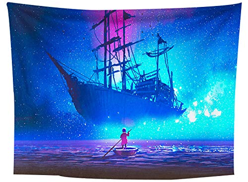 asdas Tapestry,Mandala Impression Art India 3D Printing Dream Ship Polyester Ocean Decoration Wave Picnic Blanket Dormitory Living Room Bedroom Study Room Window Wall,Dream Ship,250X150Cm