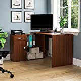 Vida Designs Longton Adjustable, L-Shaped Computer Desk with Shelves, Drawer and Door, <span class='highlight'>Home</span> Office PC/Laptop Table, Gaming Study <span class='highlight'>Workstation</span>, <span class='highlight'>Furniture</span>, Walnut