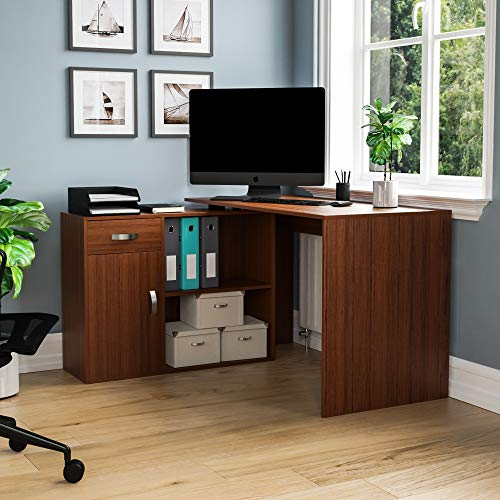 Vida Designs Longton Adjustable, L-Shaped Computer Desk with Shelves, Drawer and Door, Home Office PC/Laptop Table, Gaming Study Workstation, Furniture, Walnut