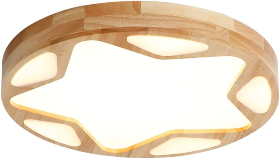 MQQ Solid Wood Jacksonville Mall Ceiling Lamps LED Round Be super welcome Stars Bo Wooden Creative