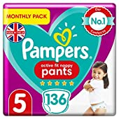 Pampers Baby Nappy Pants Size 5 (12-17 kg/26-37 Lb), Active Fit, 136 Count, MONTHLY SAVINGS PACK, Easy-Up Pull On Nappies