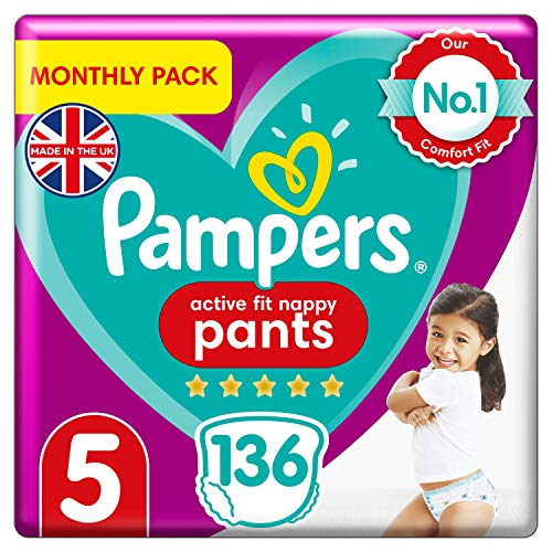 Pampers Size 5 Active Fit Baby Nappy Pants, 136 Count, MONTHLY SAVINGS PACK, Easy-Up Pull On Nappies (12-17 kg / 26-37 lbs)