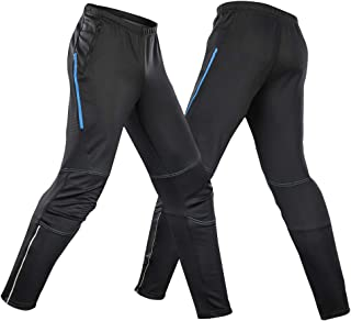 Honeytecs Men's Waterproof Cycling Pants Thermal Fleece Windproof Winter Bike Riding Running Sports Pants Trousers