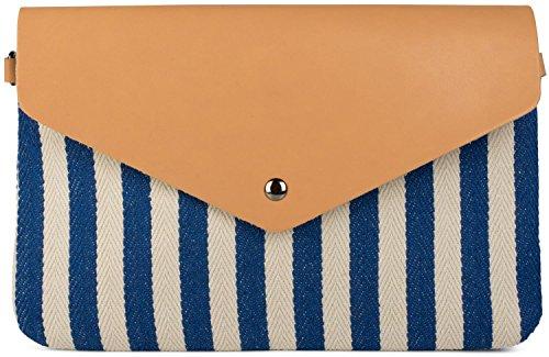 styleBREAKER clutch a busta a righe alla marinara con trama a spina di pesce, borsa a tracolla, borsa, da donna 02012153, colore:Blu-Beige