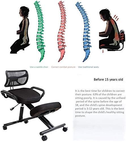 QSHG Kniend Stühle Ergonomischer Bürostühle Computer-Stuhl, höhenverstellbar, mit Stuhl Rad, mit rückseitiger Unterstützung Richtige Sitzhaltung Kleine Hocker (Color : Black)