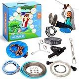Hyponix 100' Zipline Kits for Backyard for Adults / Kids - 100% Stainless Steel - Zipline for Kids - Backyard Zipline Kit for Kids - Zipline for Kids Outdoor - Zip Lines for Backyard Kids and Adults