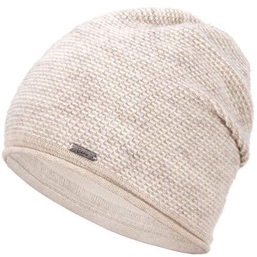 Faera Wintermütze warm gefütterte Winter-Mütze Fleece-Futter Winter Strick-Mütze Beanie-Mütze Damen Herren One-Size, Farbe:Beige