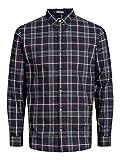 Jack & Jones Jprfocus Check Shirt L/S Camisa, Multicolor (Navy Blazer Fit: Slim Fit), X-Large para Hombre