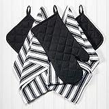 AZOKER Dish Towels, Pot Holders Oven Mitt 5-Piece Premium Kitchen Linen Set Saybrook, 100% Cotton, Black/White
