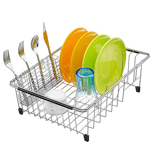 iPEGTOP Expandable Dish Drying Rack and Utensil Cutlery Holder, 304 Stainless Steel Over Sink Dish Rack, Dish Drainer in Sink or On Counter, Rustproof