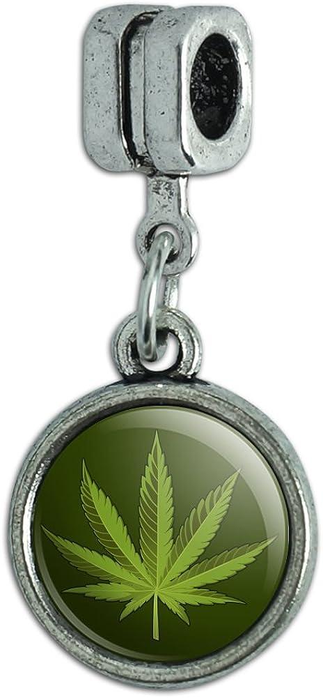 GRAPHICS & MORE Marijuana Leaf Design Cannabis Pot Italian European Style Bracelet Charm Bead