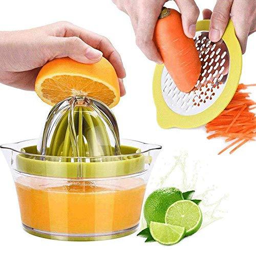 YULIN Zitronenpresse 4 in 1 Orangenpresse Zitruspresse mit Behälter 400ml, Manuelle Saftpresse Limettenpresse Fruchtpresse,Saftpresse Limette,Zitrusfrucht Handpresse