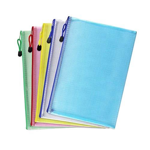 Dokumentenmappe mit Reißverschluss, A4, Kunststoff, mit Reißverschluss, Dokumentenmappen, Briefumschläge, Büromappen, Taschen, 5 Stück