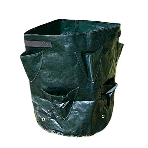 Lot de 5 sacs de plantation réutilisables en plastique pour la maison, le balcon, le jardin, les fraises, l'herbe et les légumes