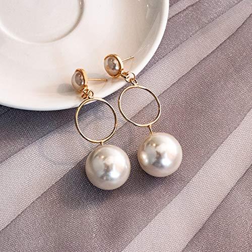 LIUL Simple Korean Plain Gold Metal Pearl Hoop Earrings For Women Unique Statement Big Earrings Fashion Party,Product 383
