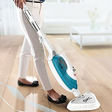 SKG 1500W Powerful Non-Chemical 212F Hot Steam Mops & Carpet and Floor Cleaning Machines (6-in-1 Accessories & 3 Microfiber Pads Included) - Steam Cleaners Machine