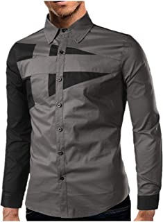 N\P Camisa de manga larga delgada para hombre, color individual, a juego, simple