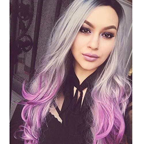 24inch Cheveux longs bouclés gris dégradé violet Racine de cheveux foncés Cheveux bouclés en fibres synthétiques