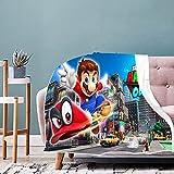 Mario Gaming Manta de Franela Toda la Temporada Gamers Anime Manta Ligera Multifuncional Cama Sofá Edredón
