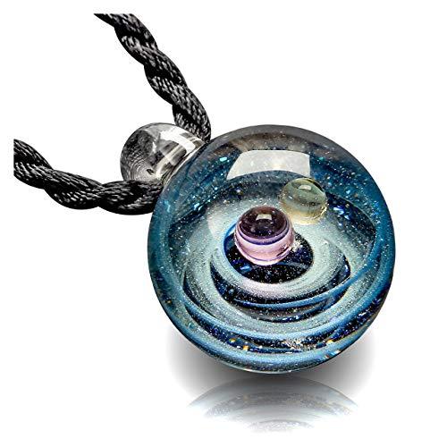 JSDDE Lampwork Glas Anhänger Halskette 23 * 32 cm 3D Glaskugel Universum Galaxy Nebel Planet Anhänger mit 2X Ketten Geschenk für Damen Herren(Pink+Gelb)