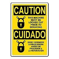 アルミニウム金属ノベルティ危険標識、、注意この機械は危険な家の装飾の庭の整備の前にロックアウトする必要があります注意通知標識おかしい金属標識