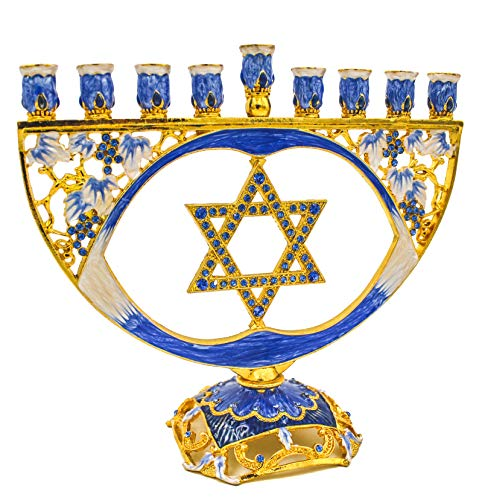 The Dreidel Company Mosaic Artistic Jeweled Menorah (Hand-Painted Jeweled Mosaic Blue & Gold - Star)