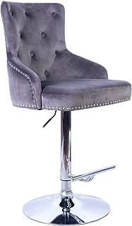 Irene House Adjustable Height Velvet Fabric Bar Stool Tufted Upholstered Barstool with Footrest Swivel Dining Chair (Grey)
