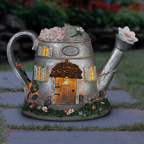 Exhart Fairy House Statue Solar Silver Water Can - Mini Watering Can Fairy Cottage Resin Statue with Solar Decor Lights – Hand-Painted Water Can Resin Fairy Hut Best for a Fantasy Garden, 7""
