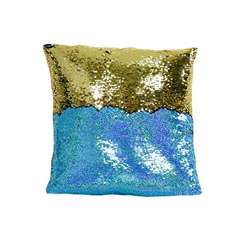 Dosige kussensloop met pailletten, voor sofakussens, hoofdkussen, auto-kussensloop, vierkant, afmetingen: 40 x 40 cm