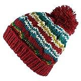Morehats Bohemian Stripe Crochet Knit Slouchy Pom Pom Handmade Beanie Winter Ski Warm Hat - Red