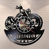 BFMBCHDJ American Classic Motorrad Wandkunst Wanduhr Garage Zeichen Motorrad Vintage Vinyl...