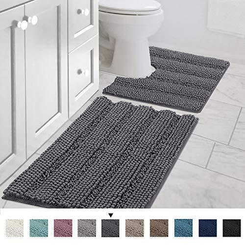 H.VERSAILTEX Bath Rug Set 2 Piece for Bathroom Non Slip Thick Chenille Bath Rugs Contour and...
