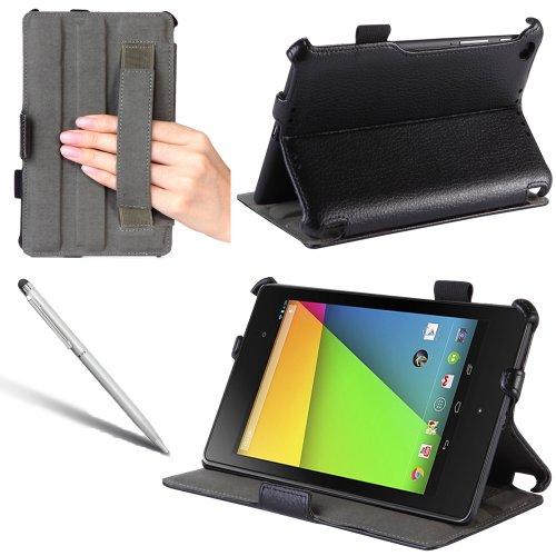 i-Blason Google The New Nexus 7 2 FHD (2nd Generation) Slim Folio Auto Wake/Sleep Shell Stand case Cover with Elastic Hand Strap, Stylus Loop & Bonus Stylus (3 Year Warranty)-Black