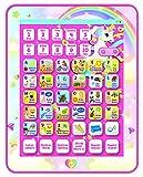 LEXIBOOK- Tablet Educativa Parlante Bilingüe Unicornio, Juguete para Aprender Letras, numeros, Vocabulario y música, Idiomas Español/Inglès, Rosa