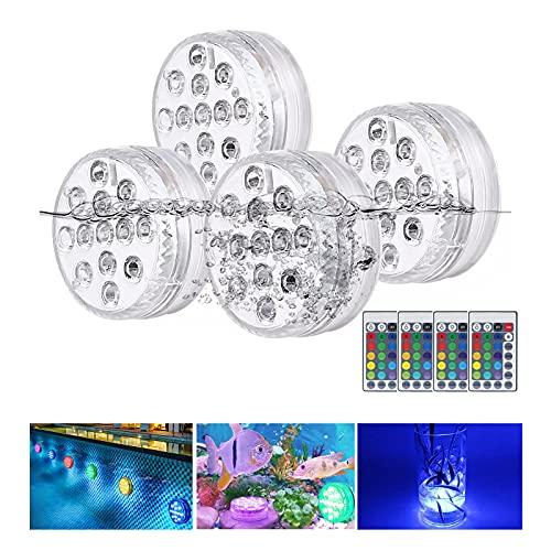 yotame Unterwasser Licht, Poolbeleuchtung Unterwasserleuchten 13 LEDs RGB Multi Farbwechsel wasserdichte LED Leuchten mit Fernbedienung für Teich Schwimmbad Vase Party Halloween Weihnachten (4 Stück)