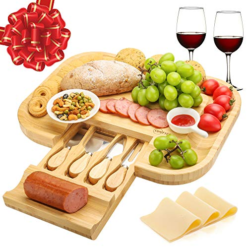 SUNFICON Bamboo Cheese Board Bread Board Tray Platter Appetizer Food Meat Serving Tray Charcuterie Platter with 4 Cutleries,Gift for Christmas Wedding Birthday Anniversary Wedding Housewarming